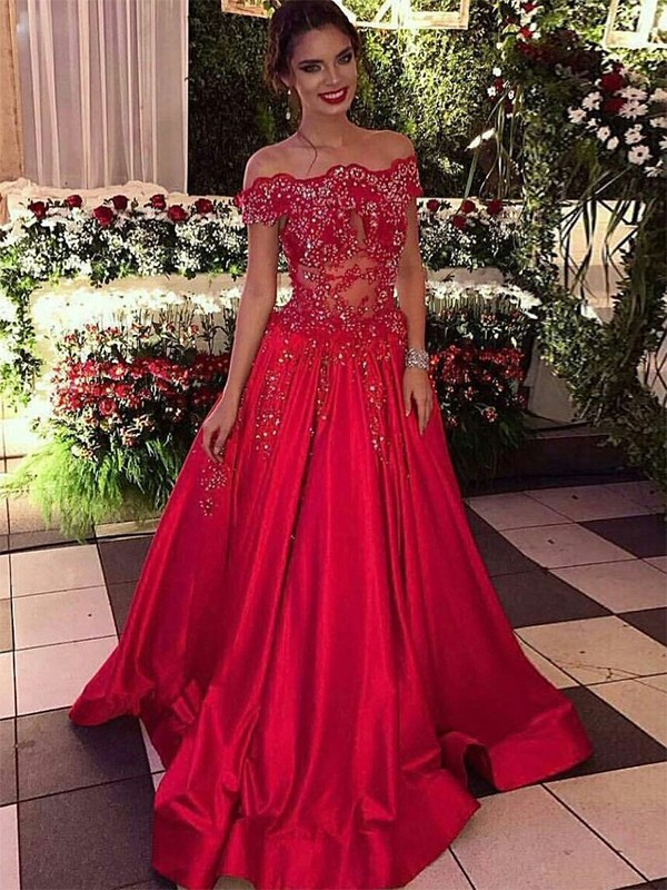 Ball Gown Beading Off-the-Shoulder Sleeveless Sweep/Brush Train Satin Dresses