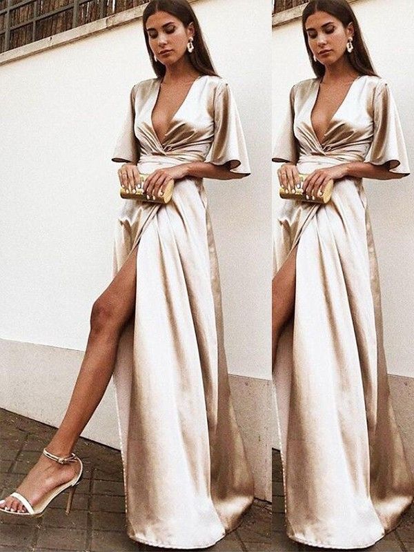 Sheath/Column 1/2 Sleeves V-neck Floor-Length Ruffles Silk like Satin Dresses