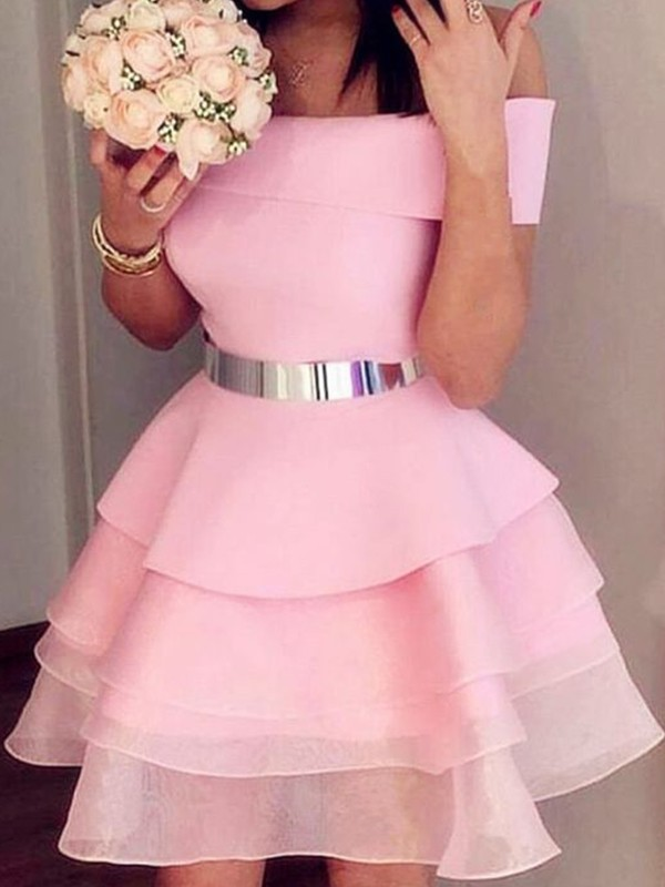 A-Line/Princess Organza Sash/Ribbon/Belt Off-the-Shoulder Sleeveless Short/Mini Homecoming Dresses