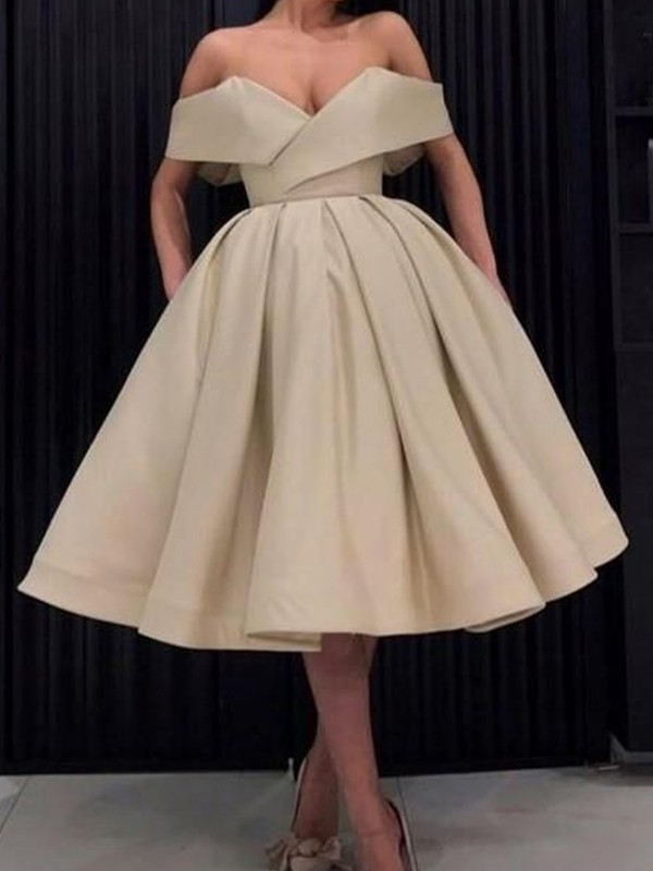 Ball Gown Satin Ruffles Off-the-Shoulder Sleeveless Knee-Length Homecoming Dresses