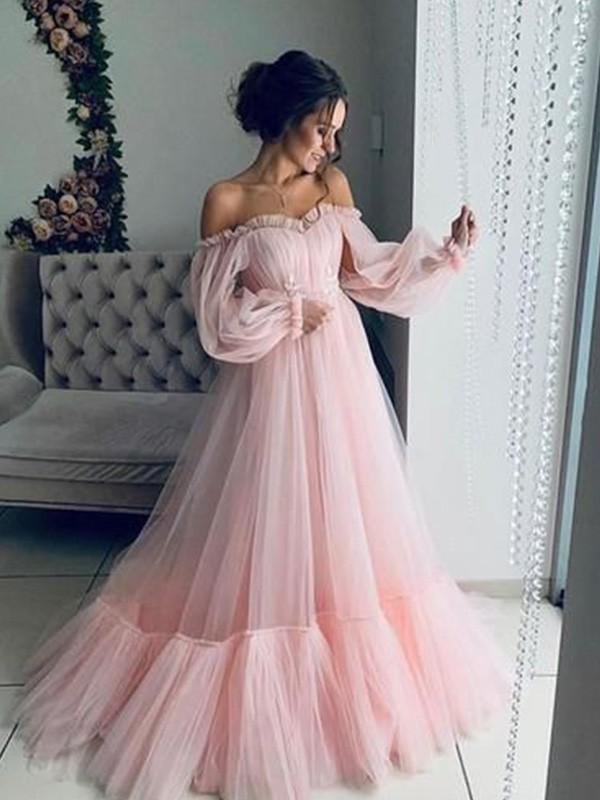A-Line/Princess Tulle Applique Off-the-Shoulder Long Sleeves Sweep/Brush Train Dresses