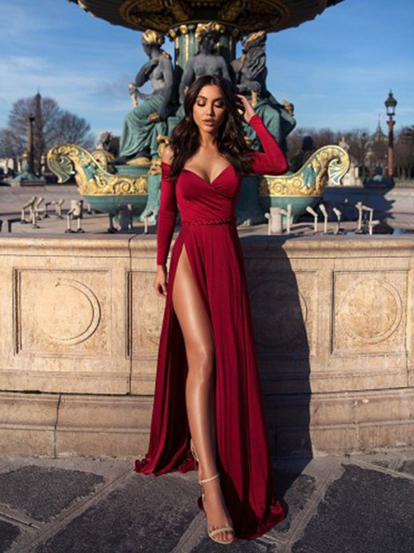 A-Line/Princess Ruched Off-the-Shoulder Long Sleeves Sweep/Brush Train Elastic Woven Satin Dresses
