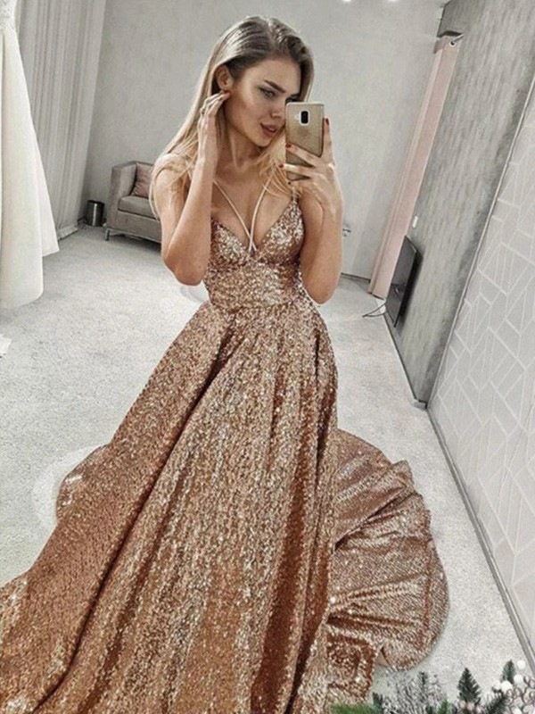A-Line/Princess Sequins Spaghetti Straps Ruffles Sleeveless Court Train Dresses