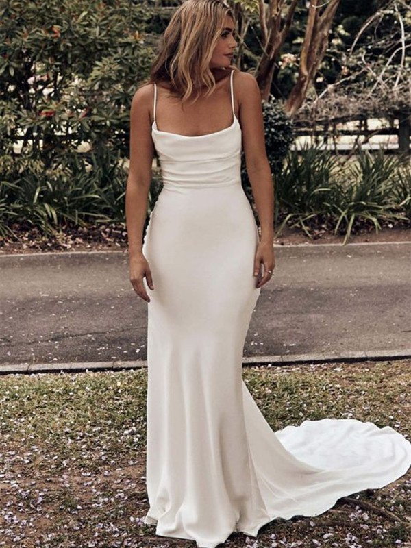Sheath/Column Ruched Spaghetti Straps Charmeuse Sweep/Brush Train Sleeveless Wedding Dresses