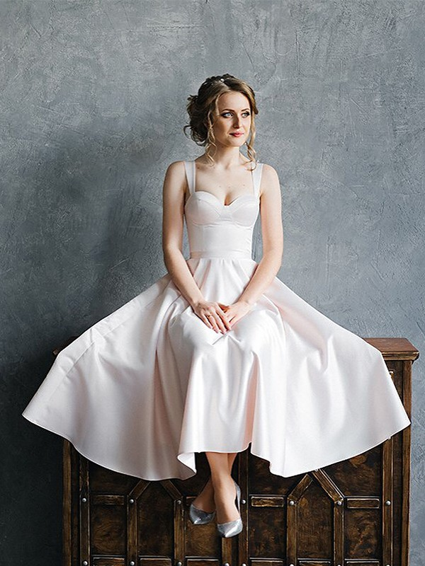A-Line/Princess Straps Satin Ruffles Sleeveless Tea-Length Wedding Dresses