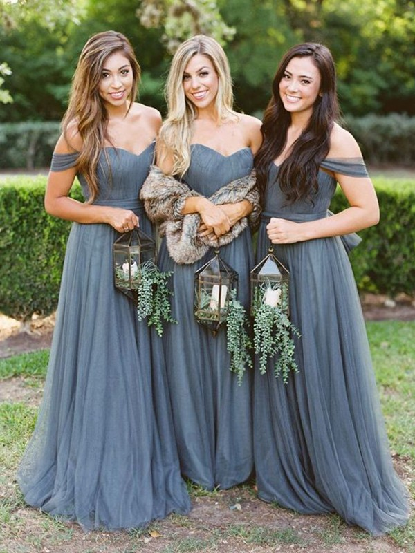 A-Line/Princess Floor-Length Tulle Ruffles Off-the-Shoulder Sleeveless Bridesmaid Dresses