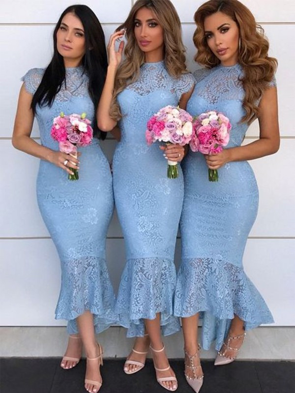Trumpet/Mermaid Lace Ruffles High Neck Short Sleeves Asymmetrical Bridesmaid Dresses