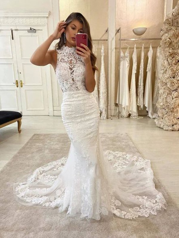 Trumpet/Mermaid Halter Sweep/Brush Train Tulle Sleeveless Applique Wedding Dresses