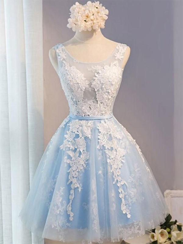 A-Line/Princess Tulle Applique Scoop Sleeveless Short/Mini Homecoming Dresses