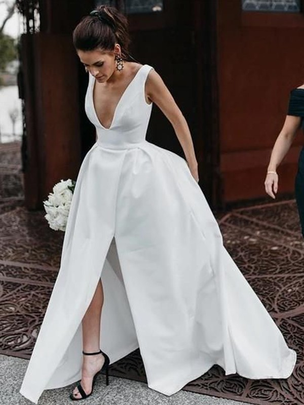 A-Line/Princess Sleeveless Satin Ruffles V-neck Floor-Length Wedding Dresses