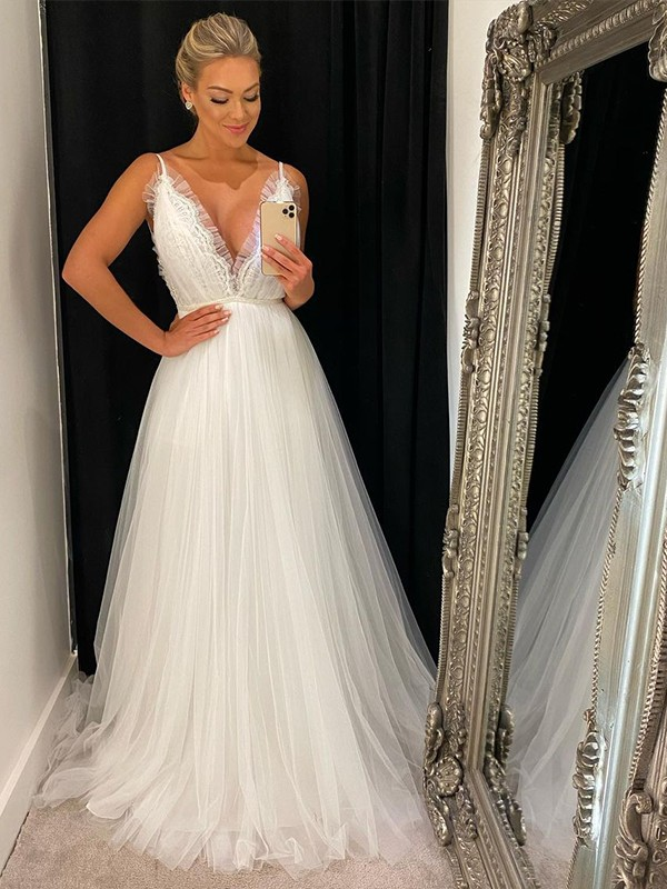A-Line/Princess Sleeveless Tulle V-neck Ruffles Sweep/Brush Train Wedding Dresses