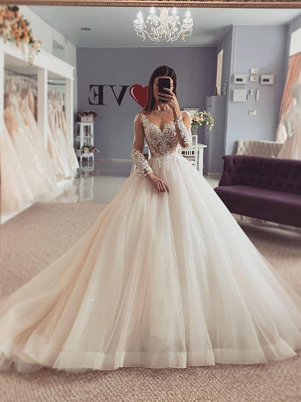 Ball Gown Organza Applique V-neck Long Sleeves Court Train Wedding Dresses