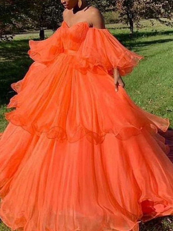 A-Line/Princess Off-the-Shoulder Tulle Layers Long Sleeves Sweep/Brush Train Dresses