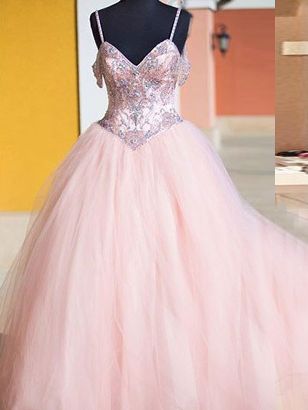 Ball Gown Crystal Spaghetti Straps Sleeveless Floor-Length Tulle Dresses