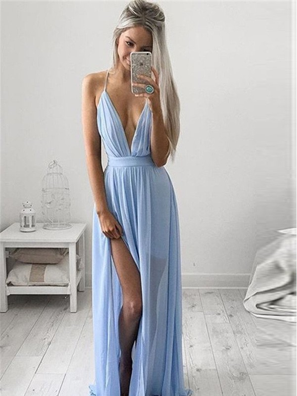 A-Line/Princess Ruched Spaghetti Straps Sleeveless Floor-Length Chiffon Dresses