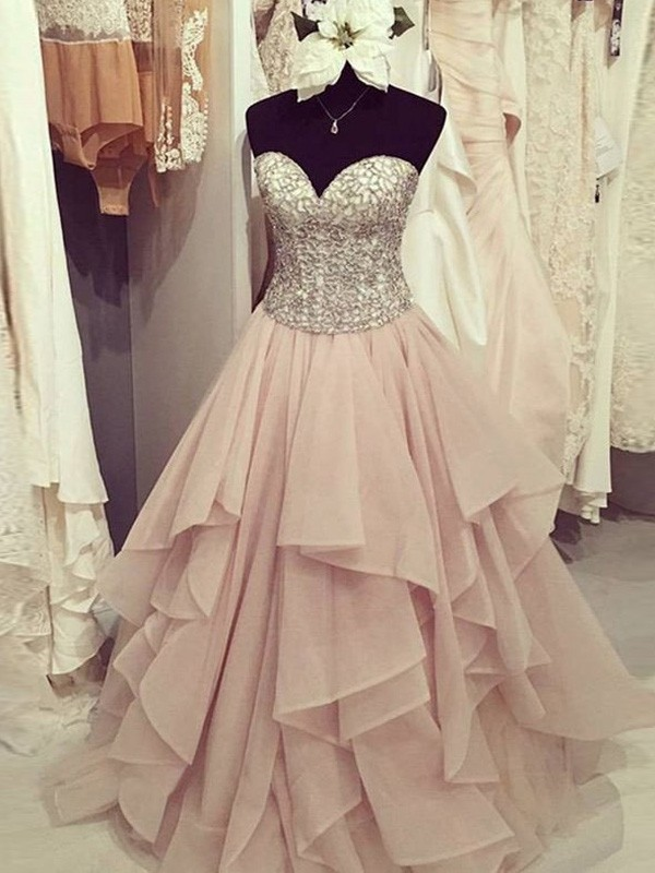 Ball Gown Beading Sweetheart Sleeveless Floor-Length Chiffon Dresses