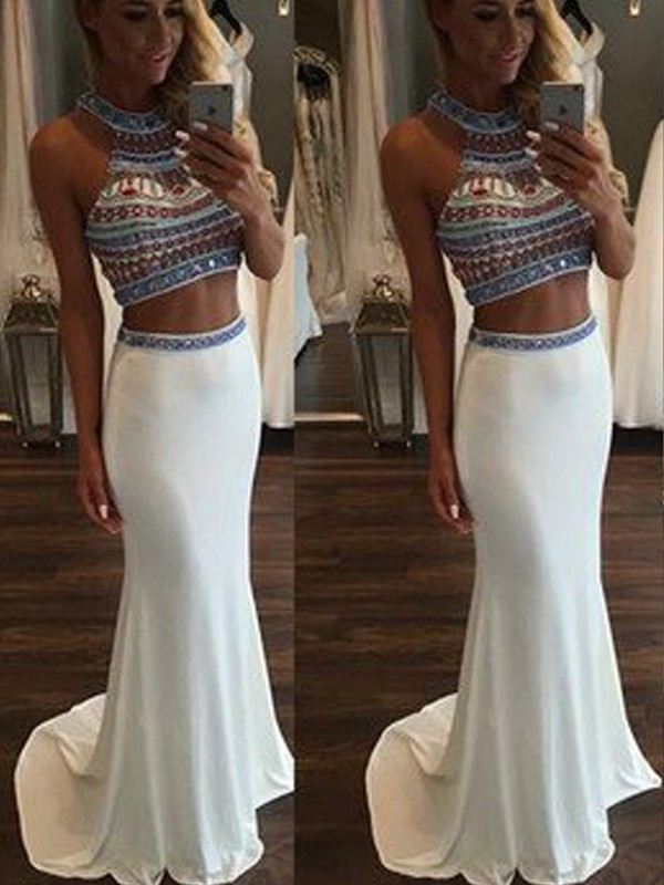 Trumpet/Mermaid Beading Halter Sleeveless Sweep/Brush Train Spandex Two Piece Dresses
