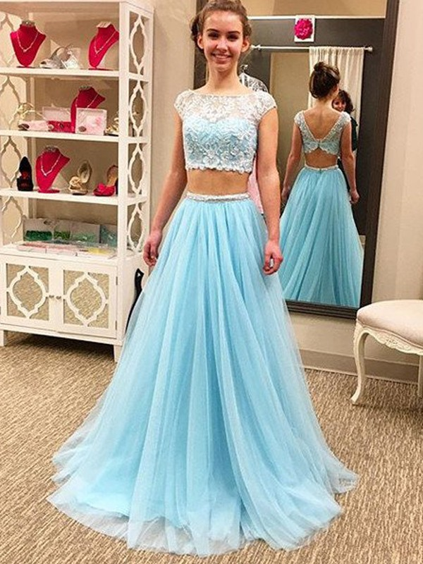A-Line/Princess Beading Scoop Sleeveless Floor-Length Tulle Two Piece Dresses