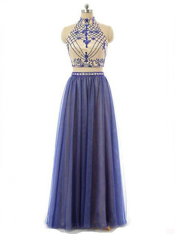 A-Line/Princess Beading High Neck Sleeveless Floor-Length Chiffon Two Piece Dresses
