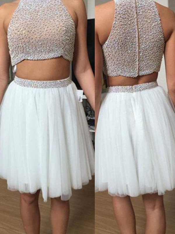 A-Line/Princess Beading High Neck Sleeveless Short/Mini Tulle Two Piece Dresses