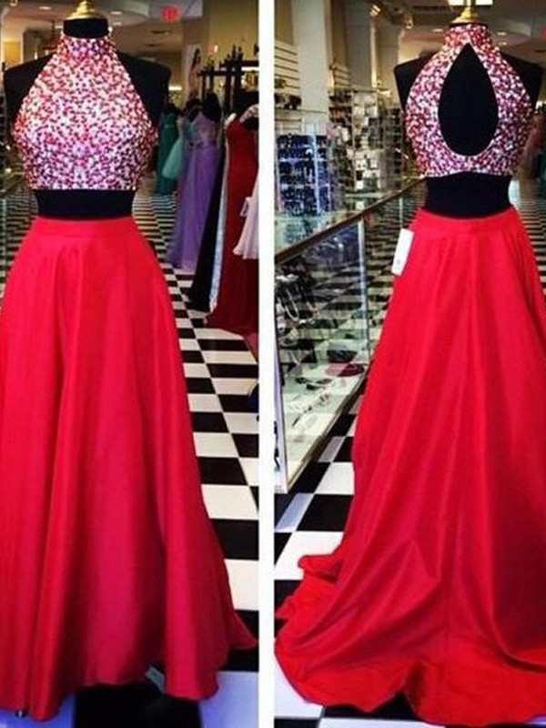 A-Line/Princess Beading Halter Sleeveless Sweep/Brush Train Satin Two Piece Dresses