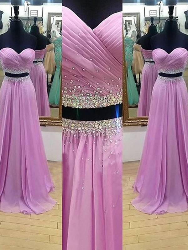 A-Line/Princess Beading Sweetheart Sleeveless Floor-Length Chiffon Two Piece Dresses
