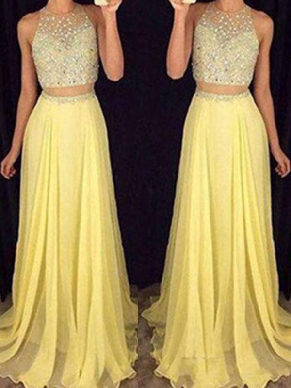 A-Line/Princess Beading Scoop Sleeveless Floor-Length Chiffon Two Piece Dresses