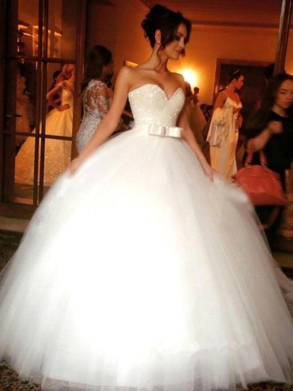 Ball Gown Bowknot Sweetheart Sleeveless Floor-Length Tulle Wedding Dresses