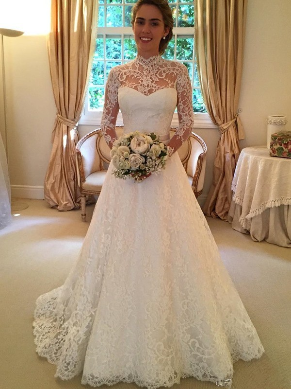 Ball Gown Lace High Neck Long Sleeves Court Train Lace Wedding Dresses