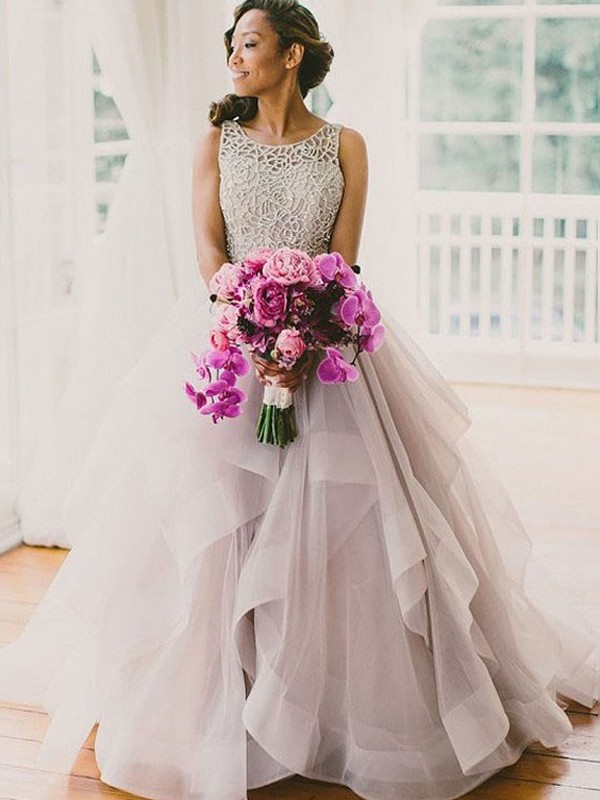 Ball Gown Beading Scoop Sleeveless Sweep/Brush Train Tulle Wedding Dresses