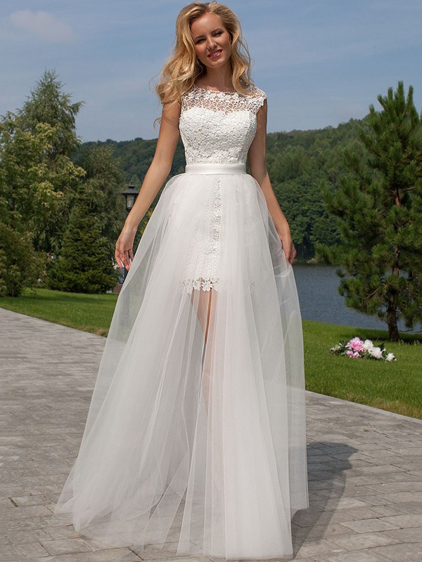 Sheath/Column Lace Scoop Sleeveless Floor-Length Tulle Wedding Dresses