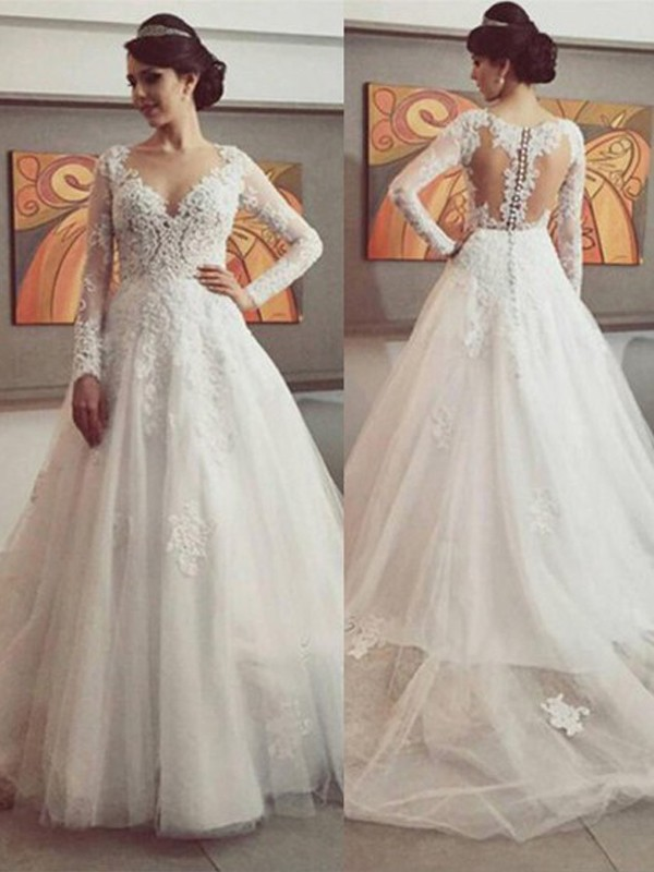 Ball Gown Lace V-neck Long Sleeves Court Train Tulle Wedding Dresses