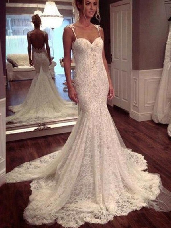 Trumpet/Mermaid Lace Spaghetti Straps Sleeveless Court Train Lace Wedding Dresses