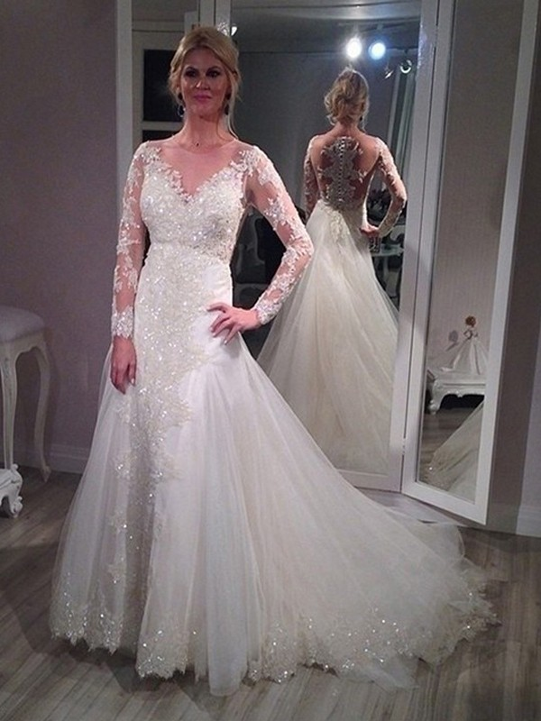 A-Line/Princess Sequin V-neck Long Sleeves Sweep/Brush Train Tulle Wedding Dresses