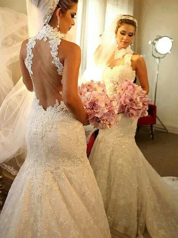 Trumpet/Mermaid Lace High Neck Sleeveless Court Train Lace Wedding Dresses
