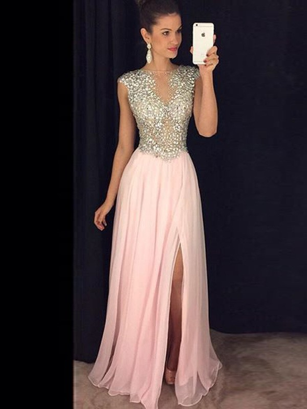 A-Line/Princess Sequin Bateau Sleeveless Floor-Length Chiffon Dresses