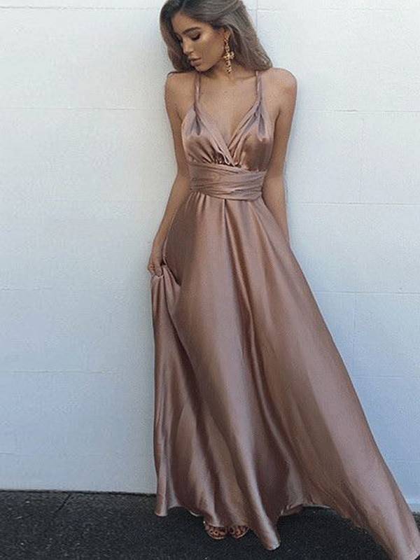 A-Line/Princess Sash/Ribbon/Belt Spaghetti Straps Sleeveless Floor-Length Silk like Satin Dresses