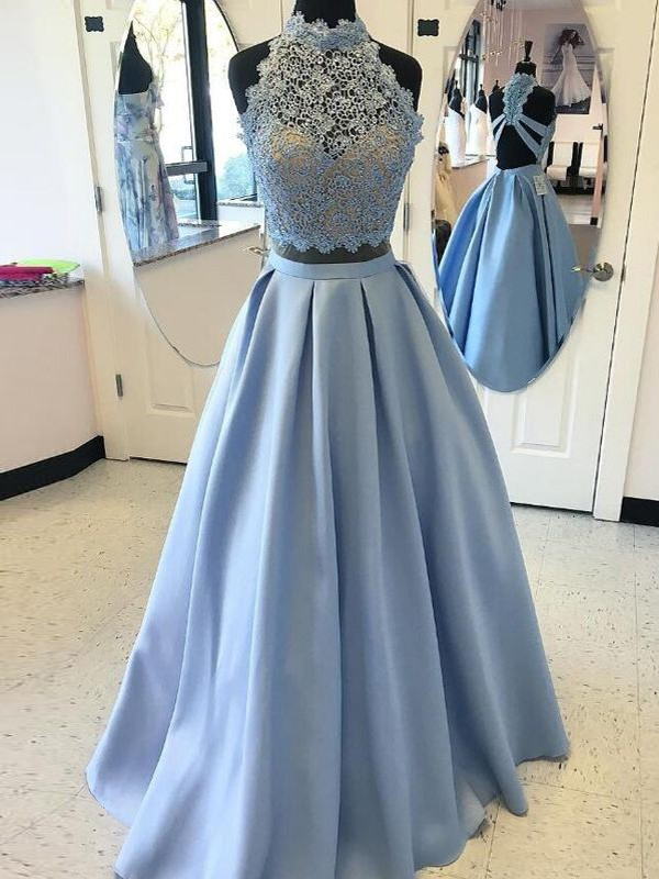 Ball Gown Applique High Neck Sleeveless Floor-Length Satin Two Piece Dresses