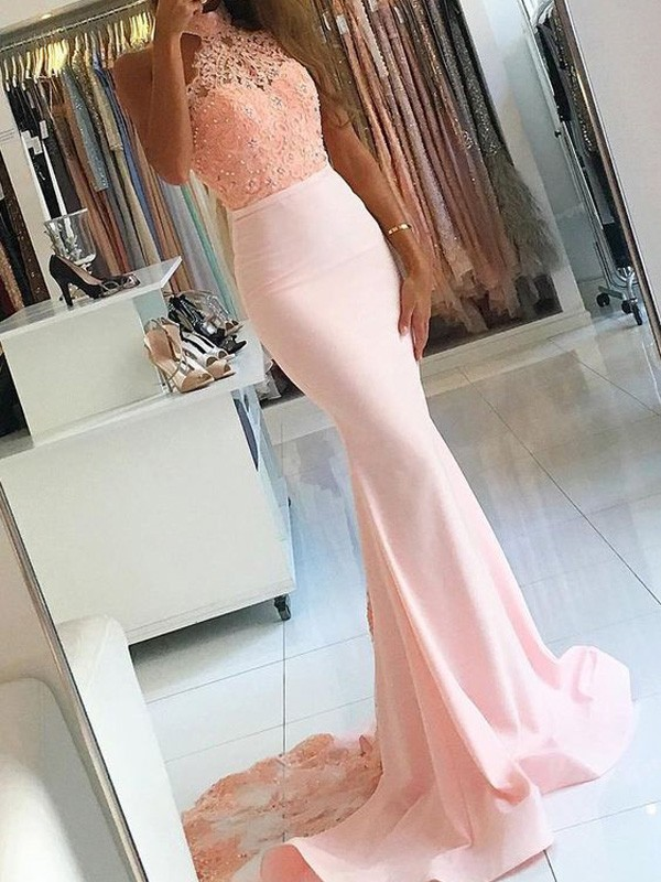 Trumpet/Mermaid Lace High Neck Sleeveless Sweep/Brush Train Satin Dresses