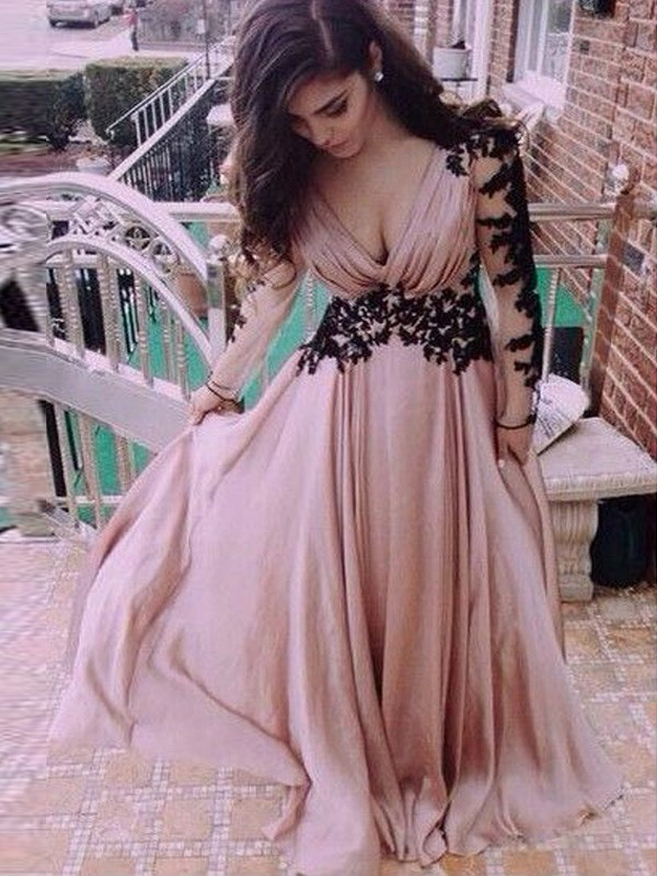 A-Line/Princess Applique V-neck Long Sleeves Floor-Length Chiffon Dresses