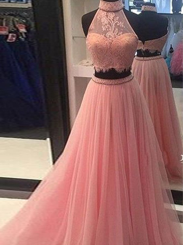 A-Line/Princess Lace High Neck Sleeveless Floor-Length Tulle Two Piece Dresses