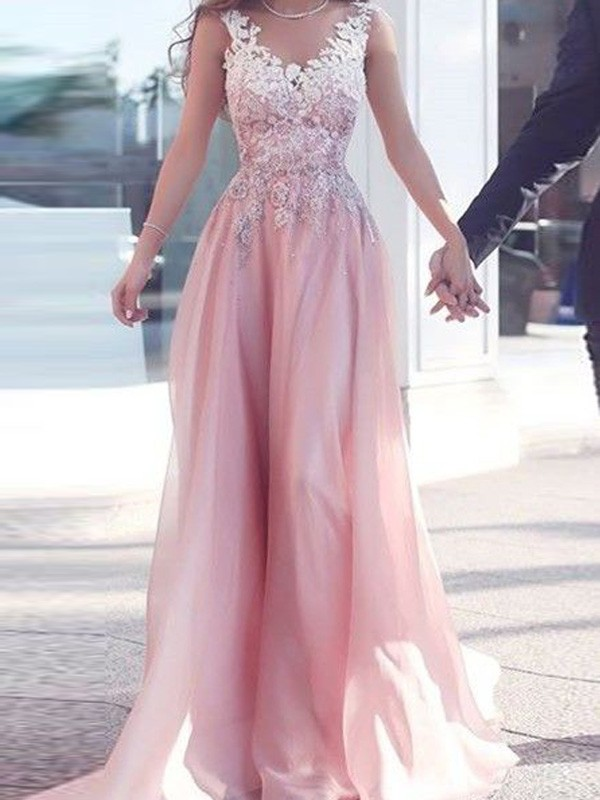 A-Line/Princess Applique Sweetheart Sleeveless Floor-Length Chiffon Dresses