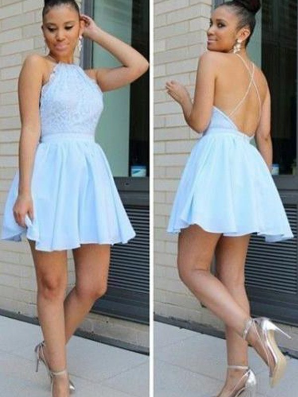 A-Line/Princess Lace Halter Sleeveless Short/Mini Chiffon Dresses