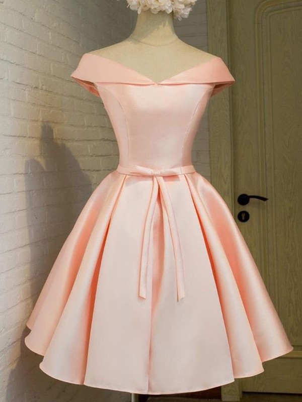 A-Line/Princess Sash/Ribbon/Belt V-neck Sleeveless Short/Mini Satin Dresses