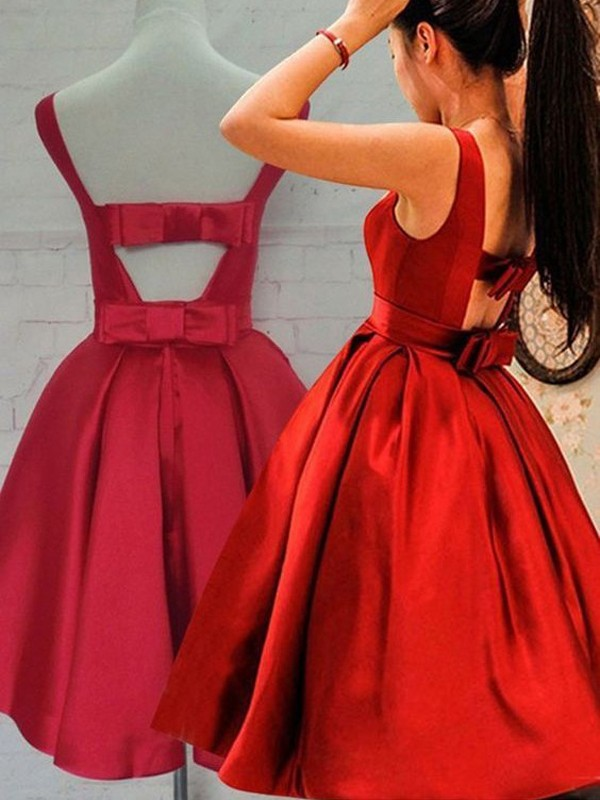 A-Line/Princess Sash/Ribbon/Belt Scoop Sleeveless Short/Mini Satin Dresses
