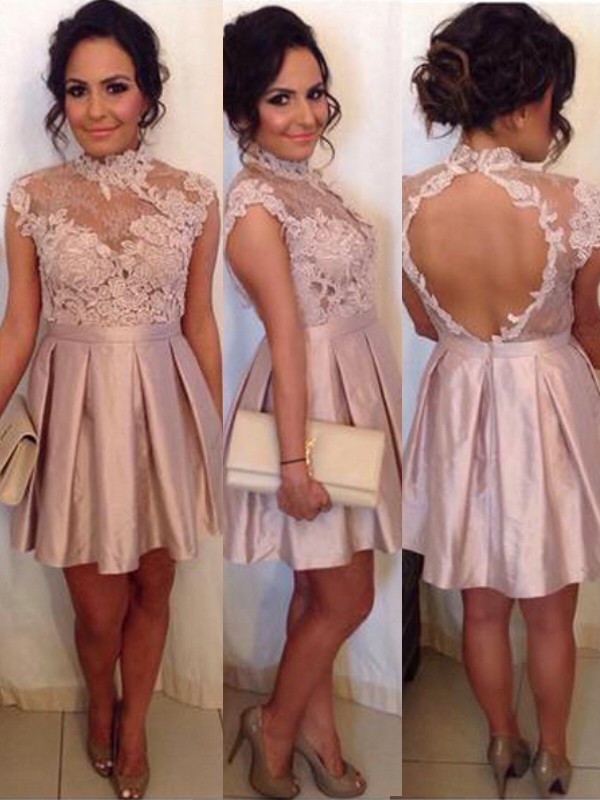 A-Line/Princess Lace High Neck Sleeveless Short/Mini Satin Dresses