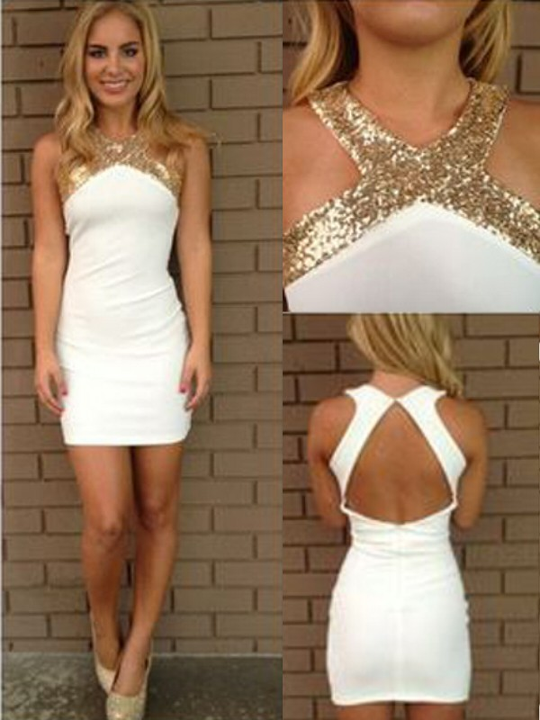 A-Line/Princess Beading Halter Sleeveless Short/Mini Satin Dresses