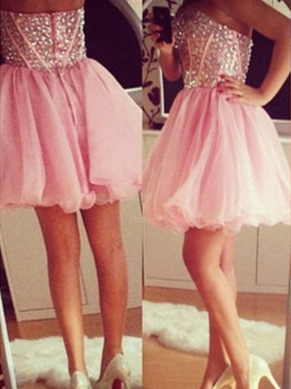 A-Line/Princess Beading Sweetheart Sleeveless Short/Mini Tulle Dresses