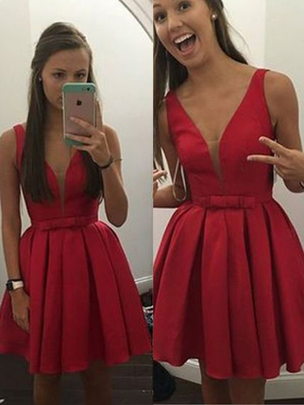 A-Line/Princess Bowknot V-neck Sleeveless Short/Mini Satin Dresses