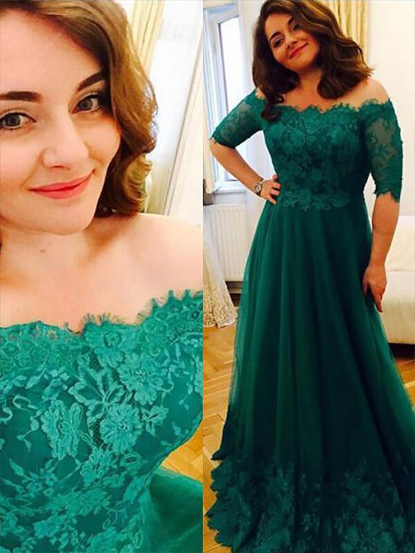 A-Line/Princess Applique Off-the-Shoulder Short Sleeves Floor-Length Tulle Plus Size Dresses